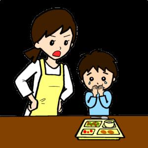 食事中に怒る大人と怒られる子どものイラスト
